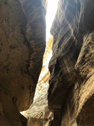 Narrow Portion Of The Siq That Almost Blocks Out The Sunlight